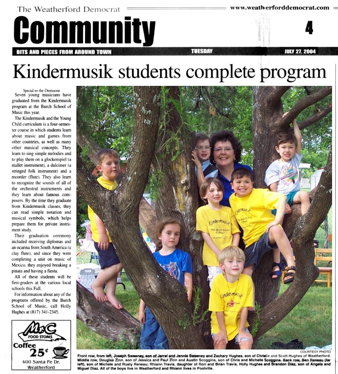 Kindermusik Students Complete Program    July 27, 2004