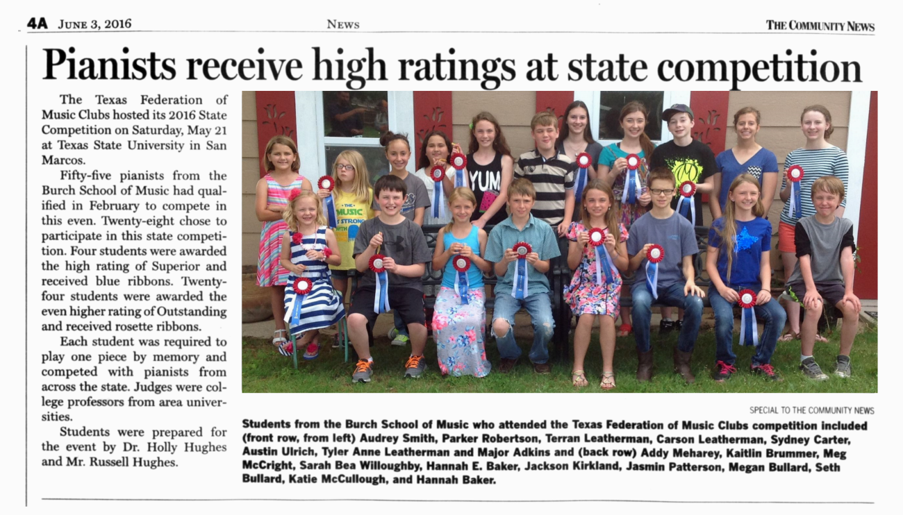 Pianists Receive High Ratings at State Competition 6-3-16