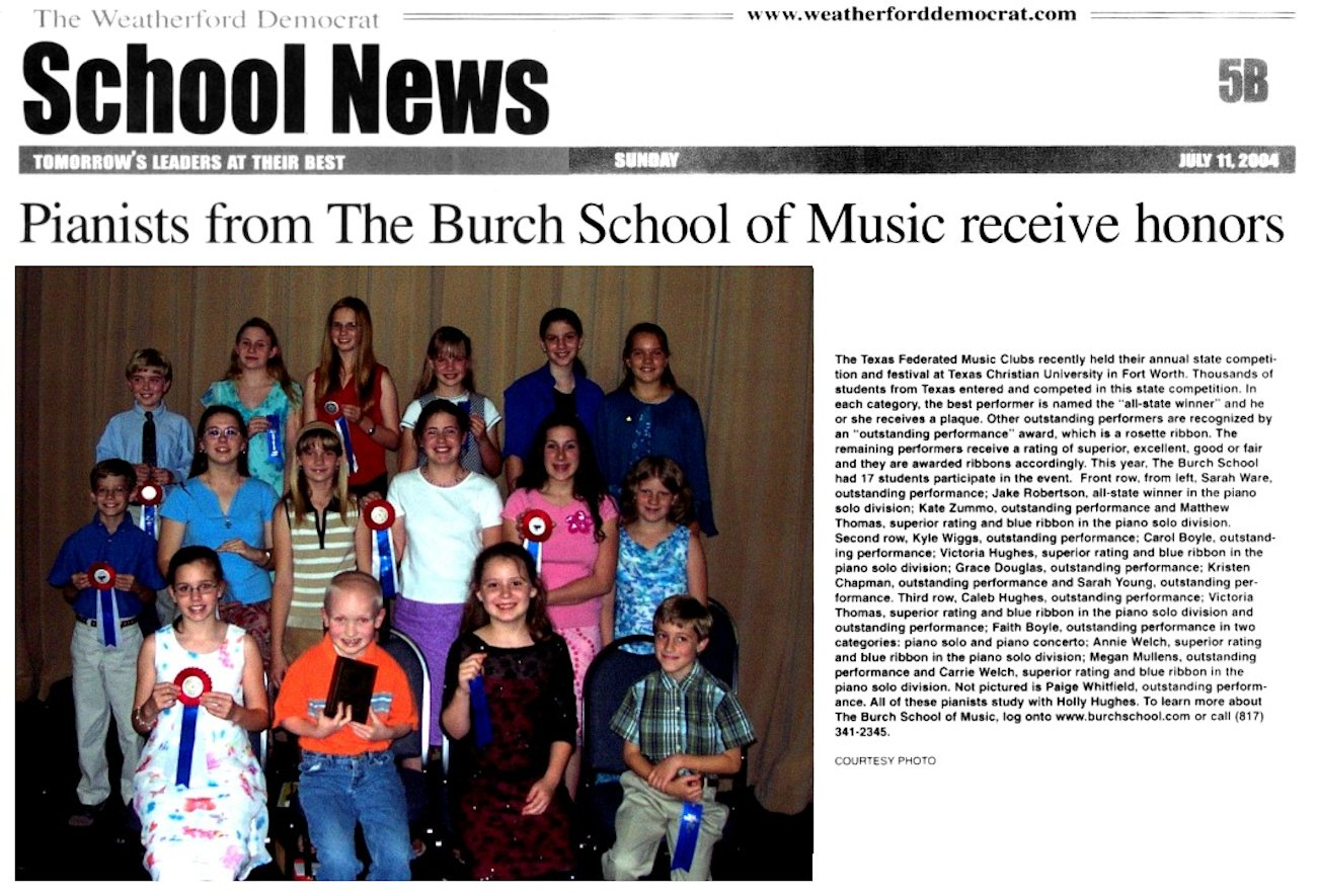 Pianists from The Burch School of Music Receive Honors   July 11, 2004