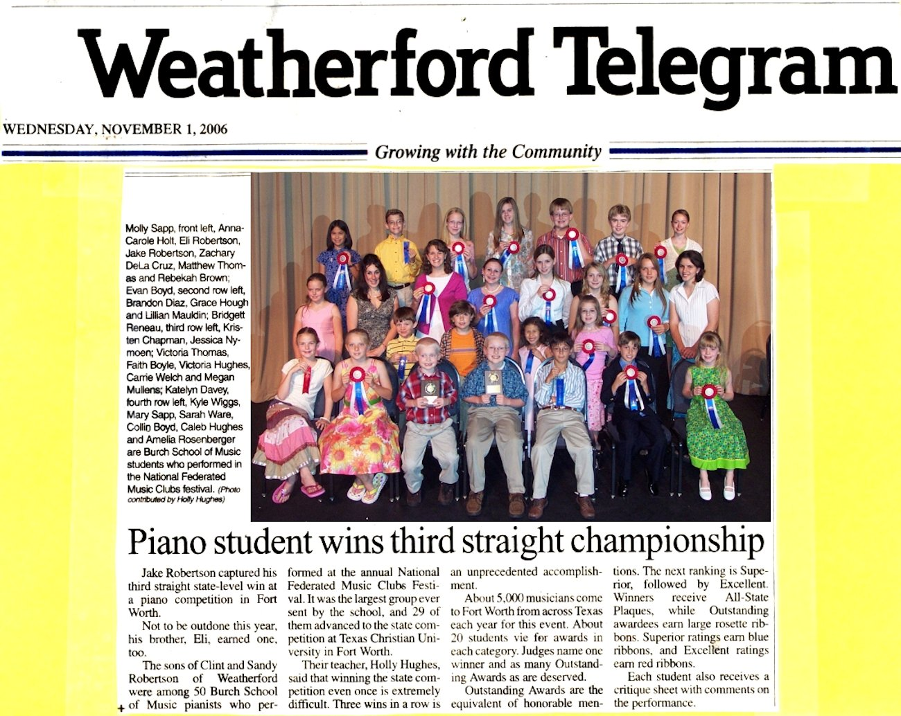 Piano Student Wins Third Straight Championship   November 1, 2006