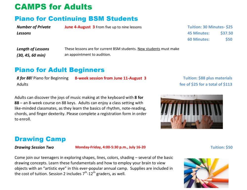 Summer Camps 2018 The Burch School Of Music